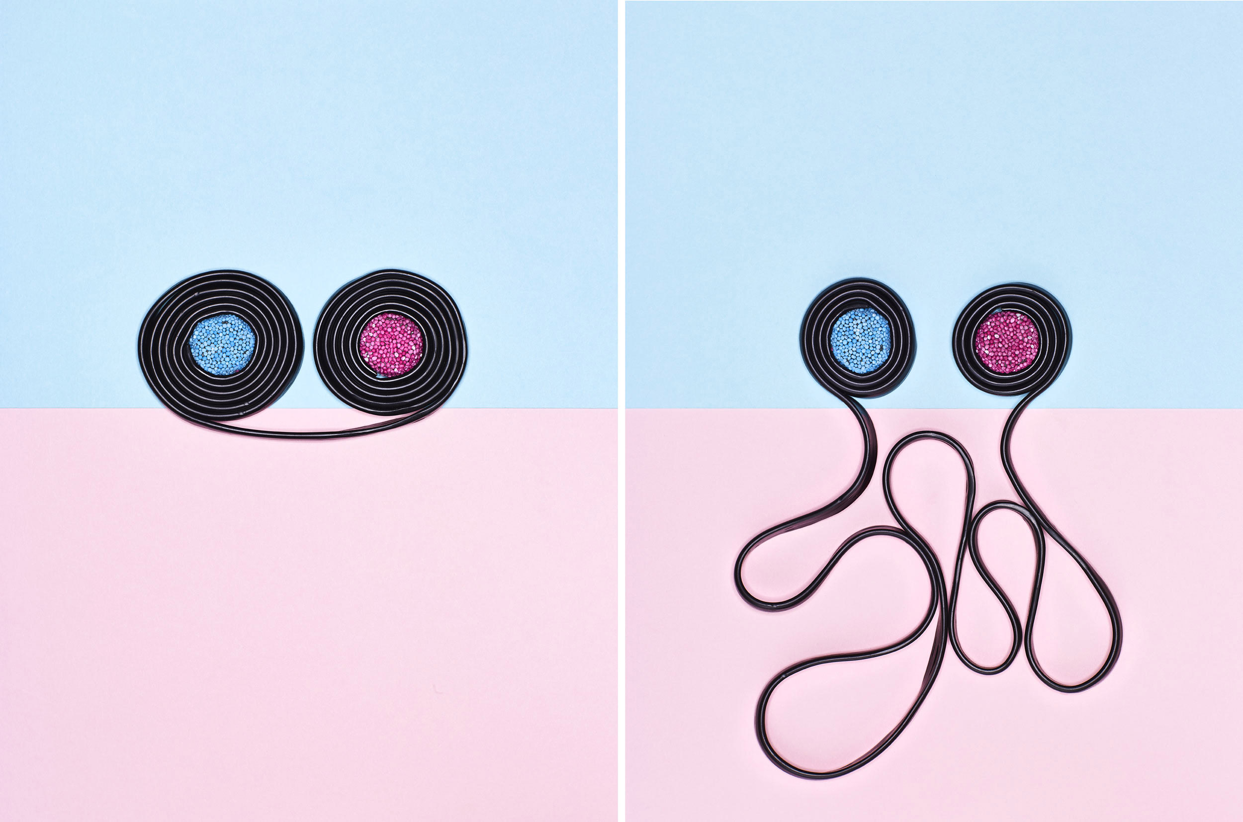 two liquorice wheels on pink and blue backgrounds communicating